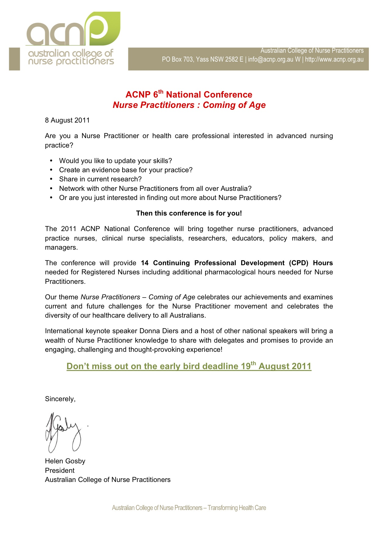 Australian College Of Nurse Practitioners 2011 National